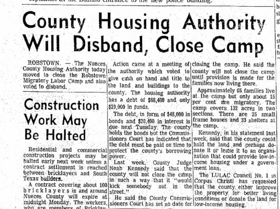 """- County Housing Authority ^""""^ ** Will Disband,..."""