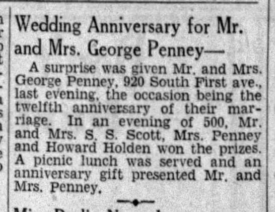George and Grace Penney anniversary -