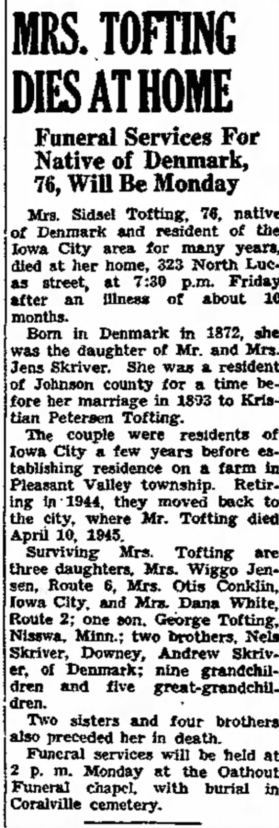 sidsel tofting sister in law obit -