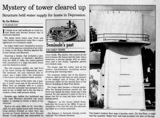Mystery of tower cleared up. Jim Robison -