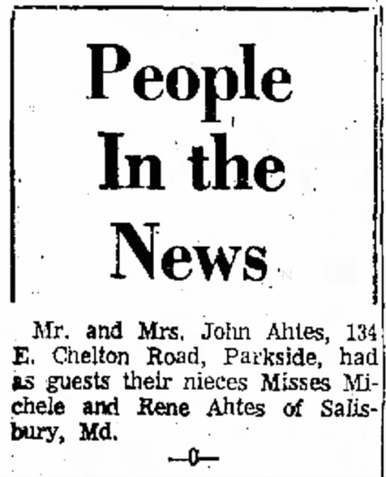 John Ahtes relatives mentioned -