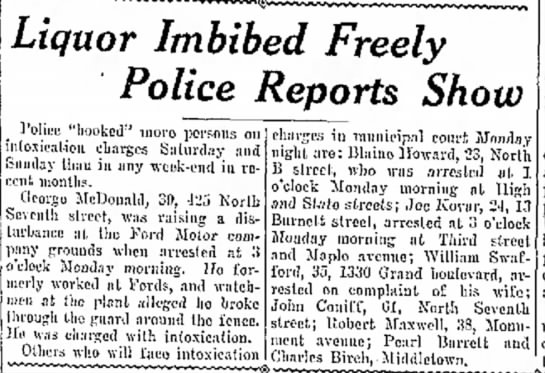 Swafford imbibed freely police report show 11 Feb 1929 -