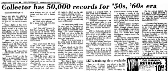 7-26-1976 Collector has 50,000 records for 50s 60s' Independent Long Beach, CA part 2 -