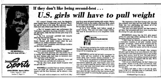 8-6-1976 US Girls will have to pull weight if they don't like being second best Montrella -