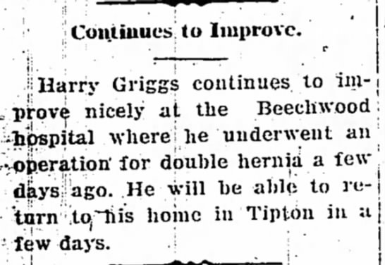 Harry Griggs is recovering from a double hernia. 16 March 19, 1936 -