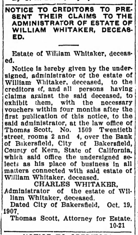 1907-11-15 WHITAKER WILLIAM - LEGAL NOTICE - DEATH -