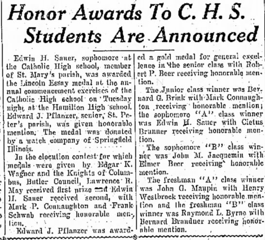- Iron ex J. Honor Awards To C. H. Students Are...