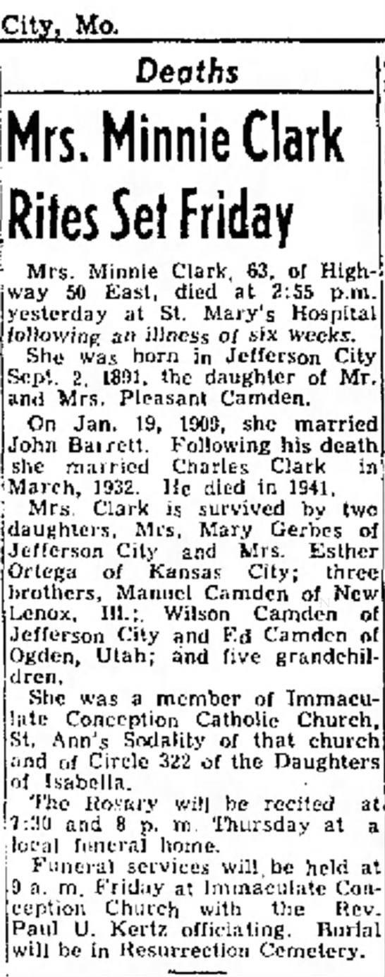 Charles Clark's second wife newspaper obituary -