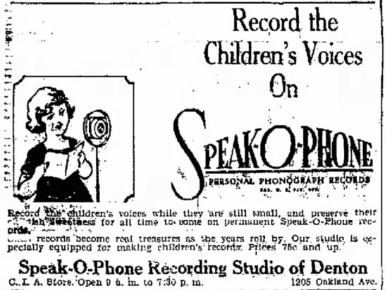 "Speak-o-Phone Ad 1929 ""Record the Children's Voices"" -"