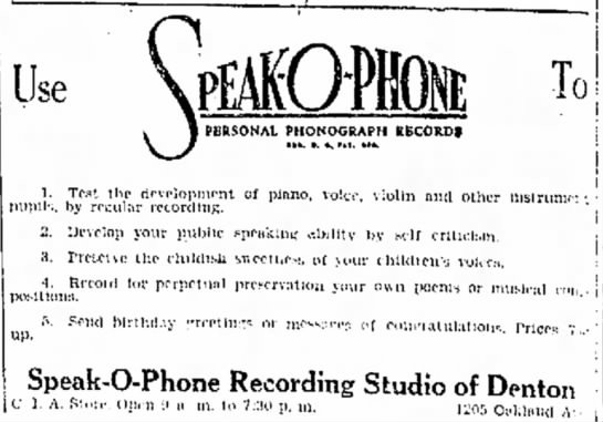 Speak-o-Phone Ad 1929 -list of 5 uses -