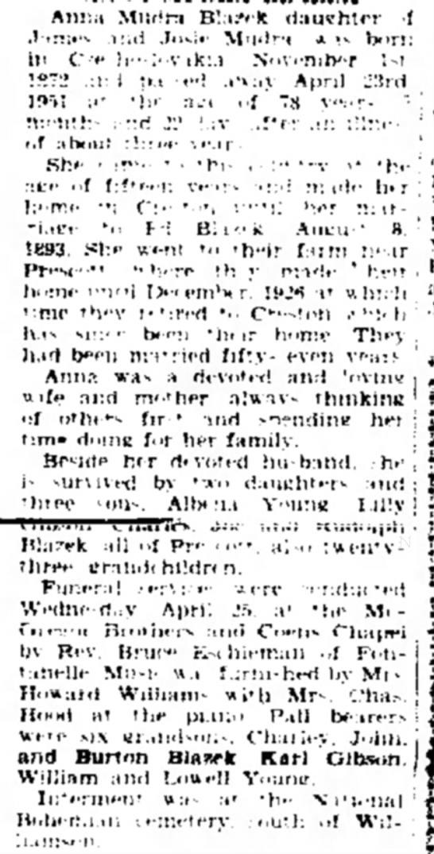 anna blazek may 3 1951 -