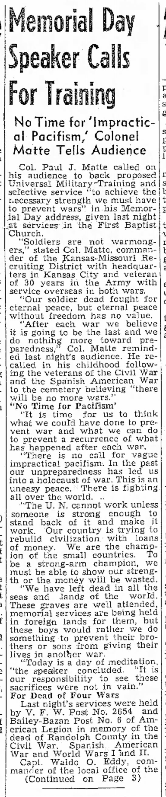 Paul J. Matte Memorial Day Speech - that he Taft- to seek for armed of (/P)...