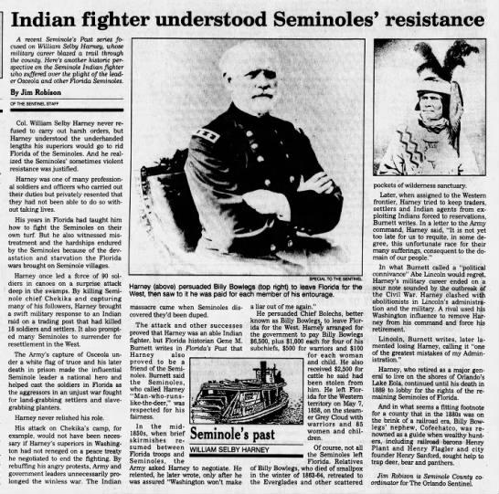 Harney, Indian fighter, understood Seminoles' resistance. Jim Robison -