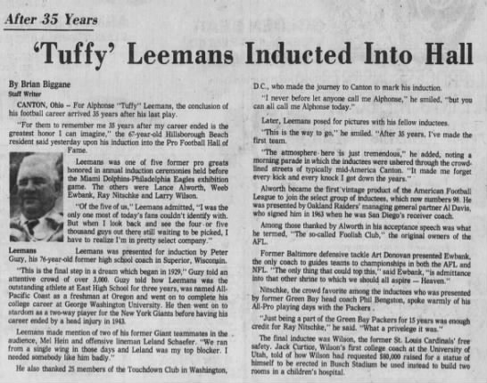 'Tuffy' Leemans Inducted Into Hall -