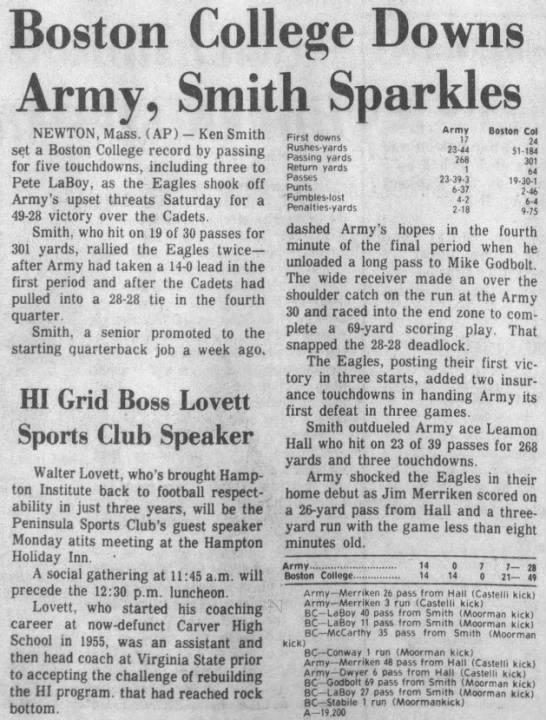 Boston College Downs Army, Smith Sparkles -
