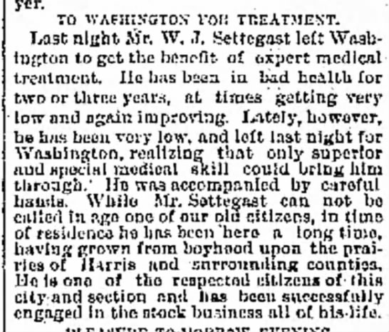 Seeks treatment in Washington in April 1889 -