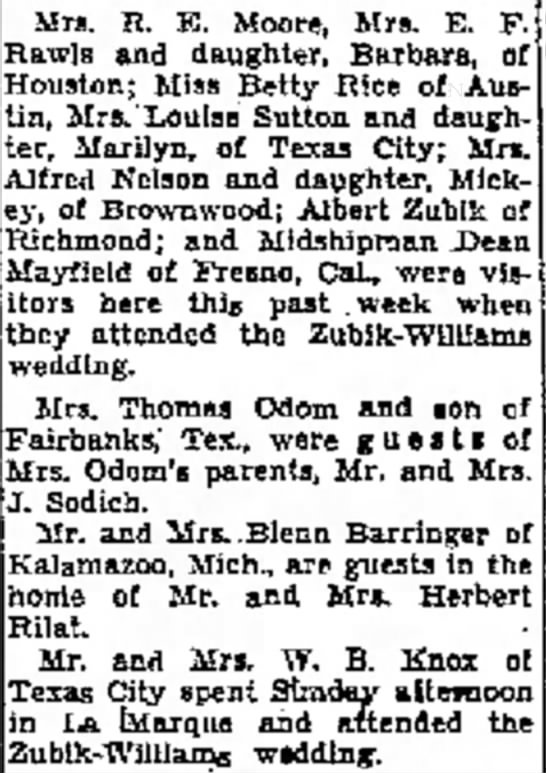 Zubik-Williams Wedding - a at Mrs. R. Moore, Mrs. E. F. Rawls and...