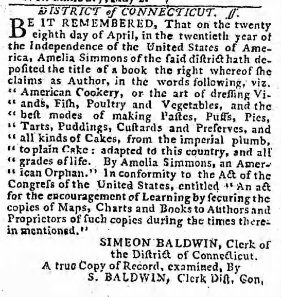 "1796 ad for Amelia Simmons ""American Cookery"" -"