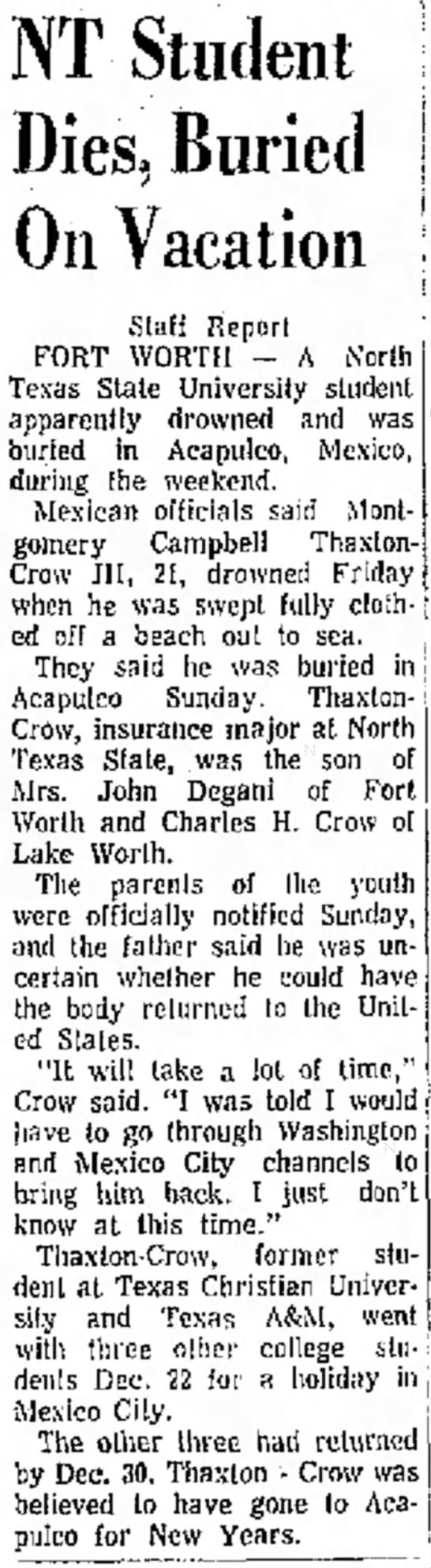 Montgomery Campbell Thaxton-Crow drowns -