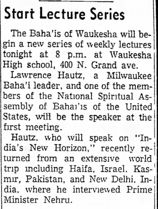 Lawrence Hautz travels for Baha'i Faith -