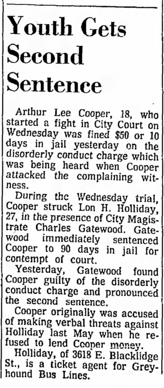 lon  holliday dad attacked in court july10 1965 tucson arizona  -