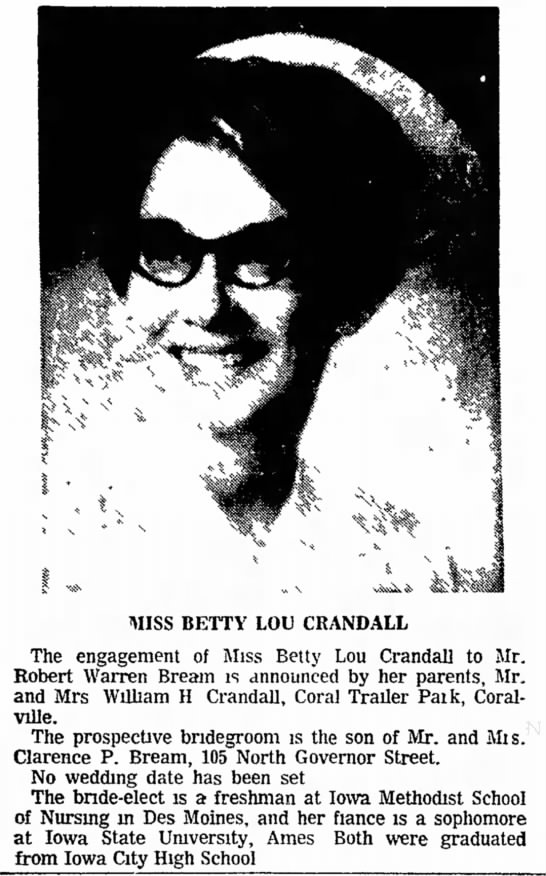 - MISS BETTY LOU CRANDALL The engagement of Miss...