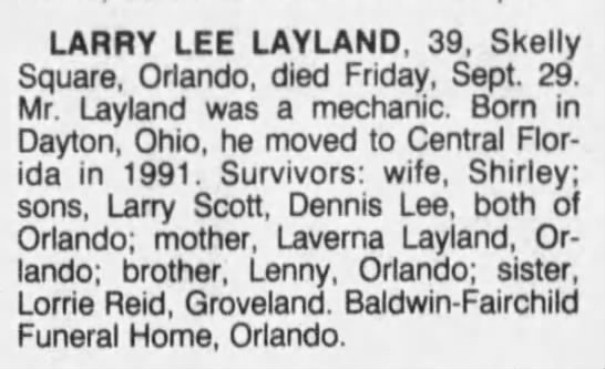 Obituary-Larry Lee Layland -