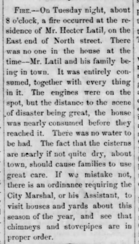 NEWS 1859 Oct 16 LATIL HECTOR house burns Triweekly gaz -