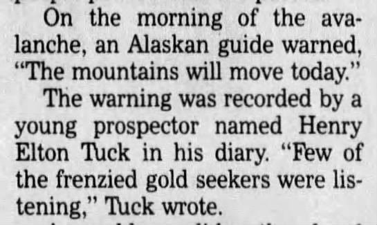 An Alaskan guide warned stampeders about possible avalanche -