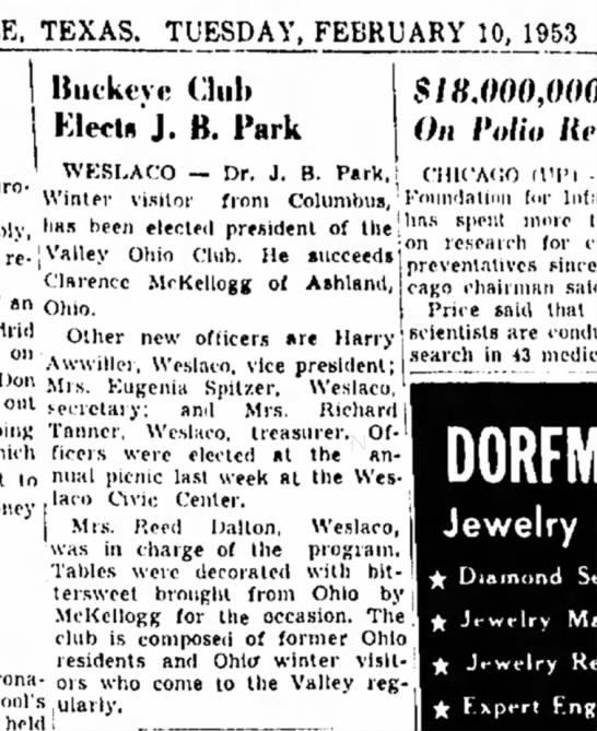 C McKellogg 10 Feb 1953 Brownsville, Texas -