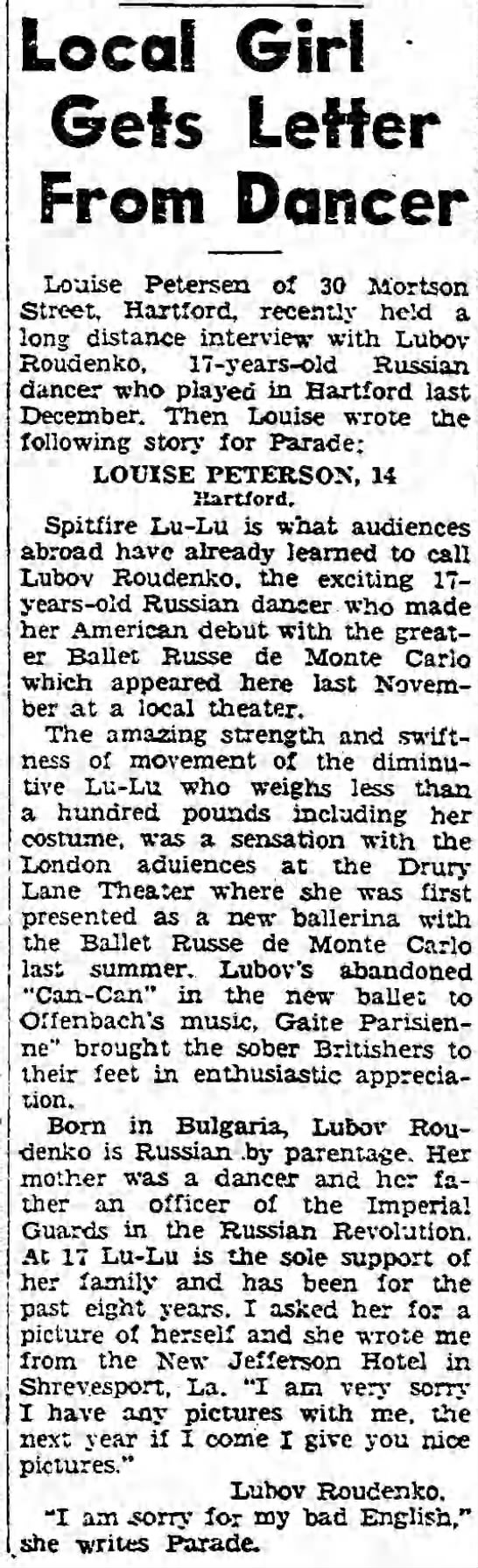 Local Girl Gets Letter from Dancer. The Hartford Courant (Hartford, Connecticut) 9 July 1939, p 41 -