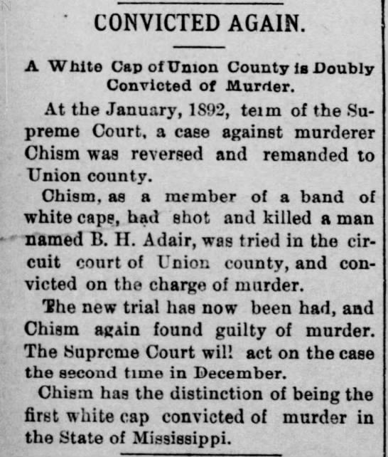 - ' CONVICTED AGAIN. A White Cap of Union County...