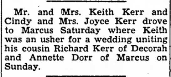 Kerr, Mr & Mrs, Postville Herald, Postville, Iowa, May 9 1962, Pg 6 -