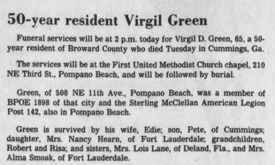 Green, Virgil D. - 50-year resident Virgil Green Funeral services...