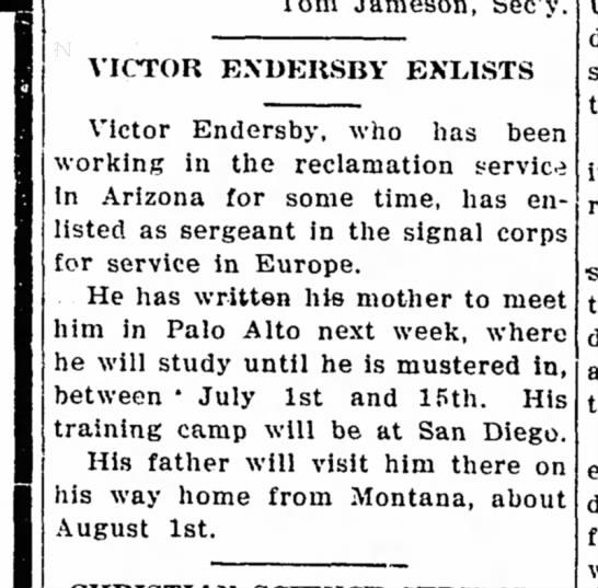 Victor Endersby Enlists -