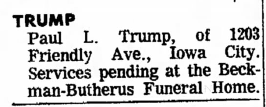Paul L Trump funeral notice -