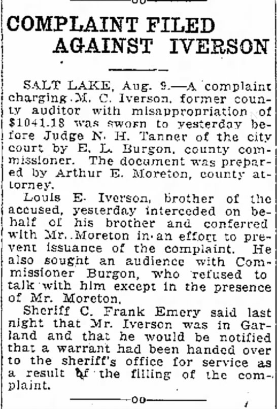 "Story about legal matter of Moroni Iverson and his brother Louis E. Iverson - the was of in a Kennedy in shot had 00""..."