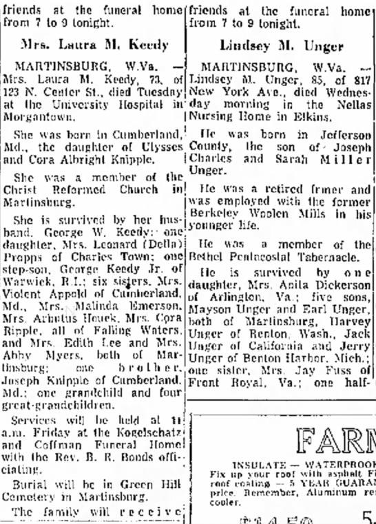 Laura Knipple Keedy obituary - 7 Sept 1972, Morning Herald, Hagerstown, MD - i t a l and Pa.: e v e r a l r e c e i v e...