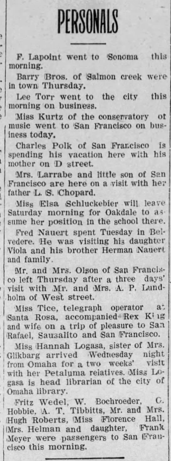 Persenals, Petaluma Daily Morning Courier (Petaluma, California) August 28, 1908, page 2 -