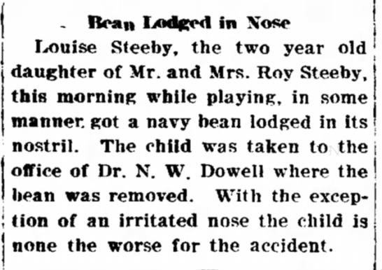 Louise Steeby, Bean lodged in nose -