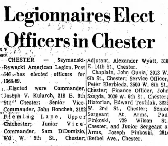 Samuel DiDomizio Legionnaires elect Officers in Chester -