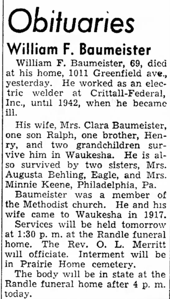 Augusta Behlings Brother William F Baumerster -