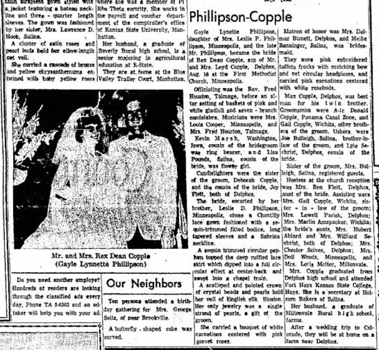 Phillipson-Copple weddingSalina Journal25 Aug 1963 -