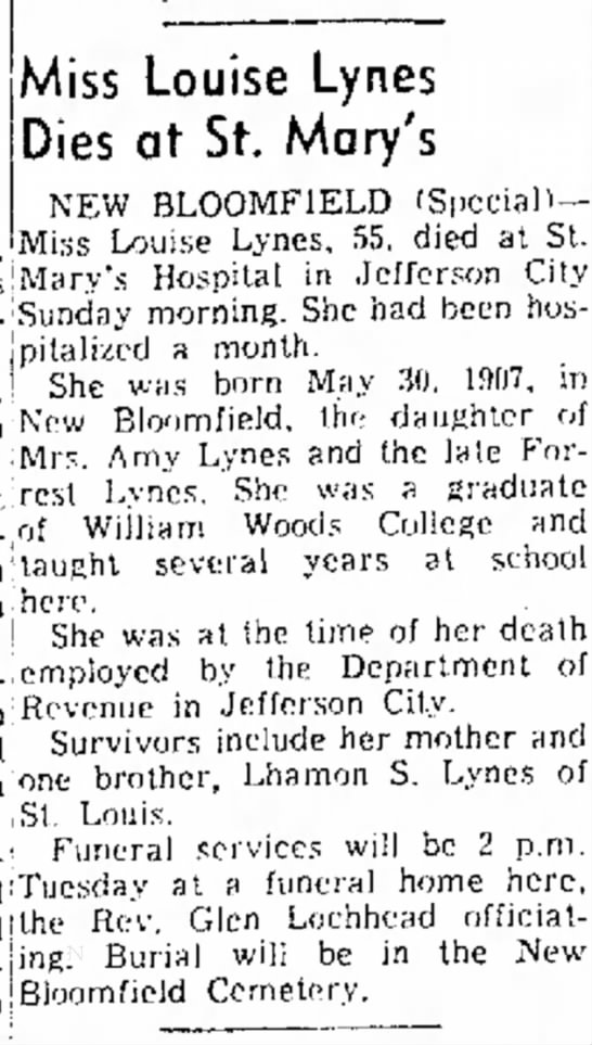 Miss Louise Lynes newspaper obituary -