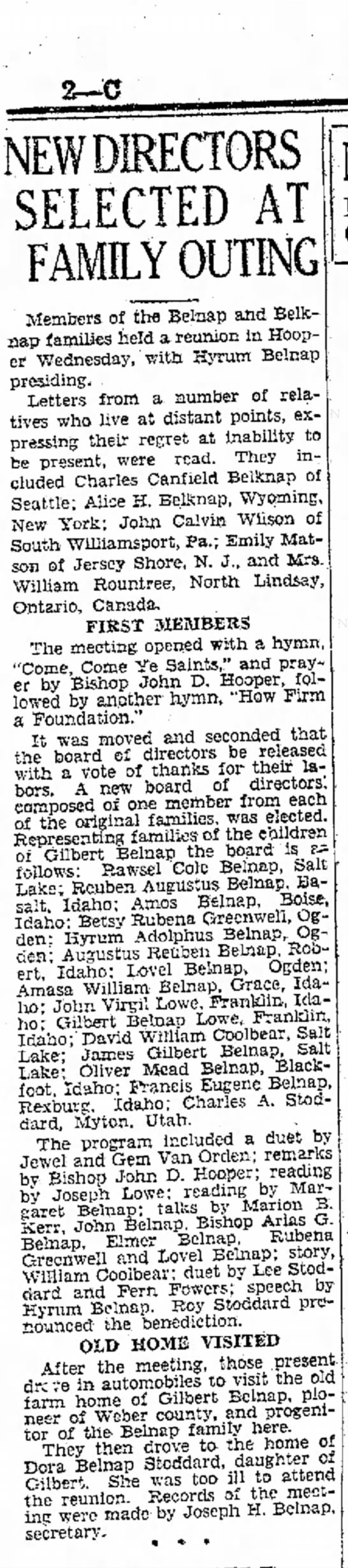 1930 Belnap Reunion - DIRECTORS SELECTED AT FAMILY OUTING Members of...