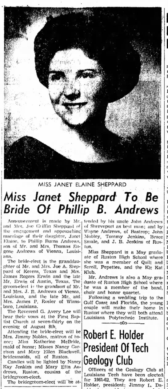 Phillip Andrews' Engagement to Janet Sheppard -
