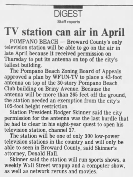 TV station can air in April -