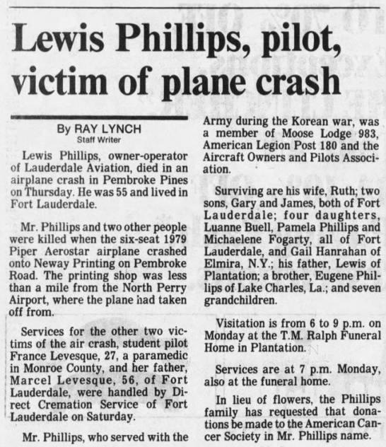 Lewis Phillips, plane crash, Aug 25, 1988 -