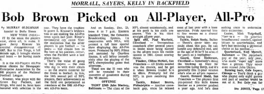 Bob Brown Picked on All-Player, All-Pro; Morrall, Sayers, Kelly in Backfield -
