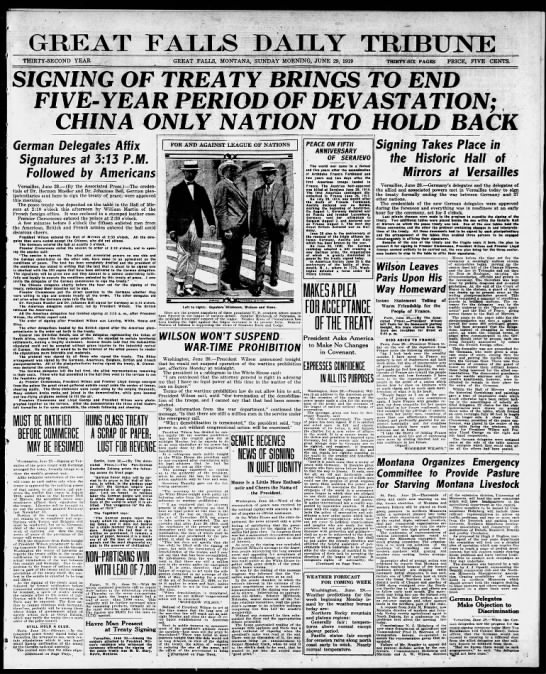 Headlines announce signing of the Treaty of Versailles -